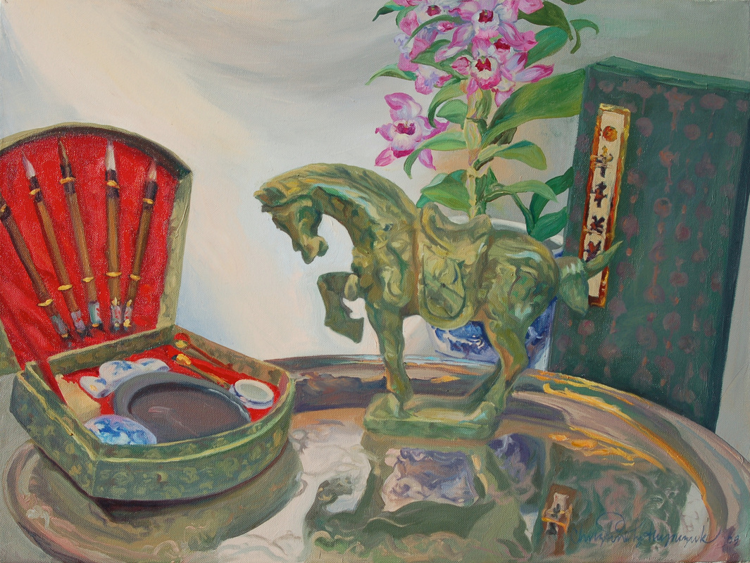 Painting of orchids, jade horse and Chinese brushes