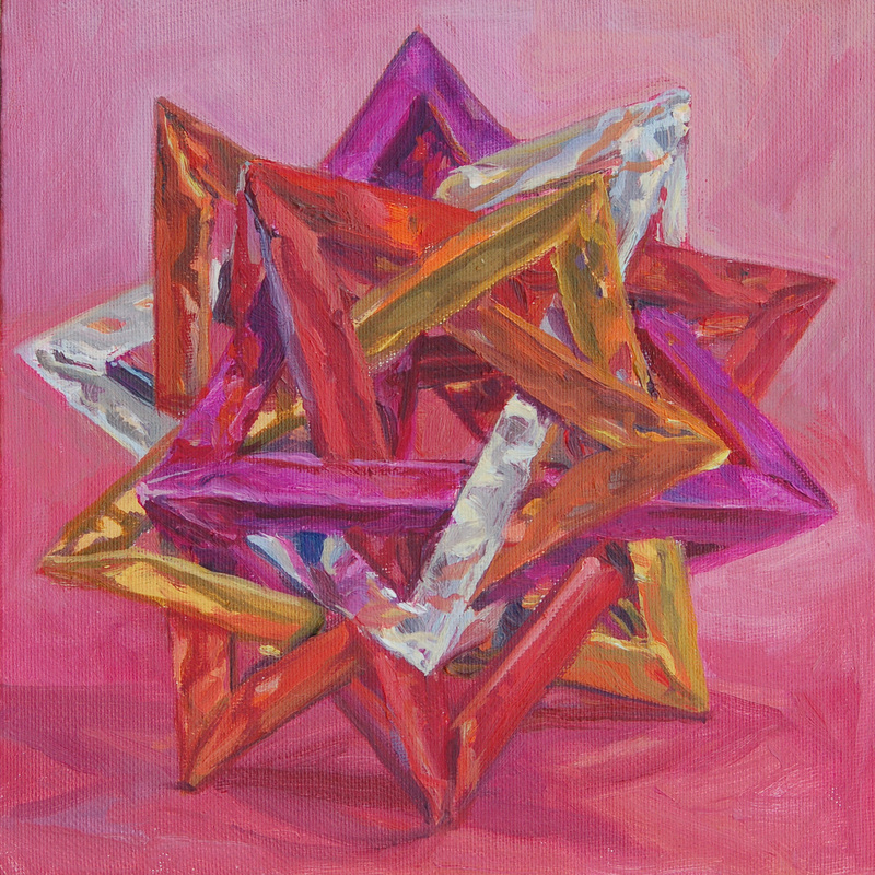 Painting of origami modular star