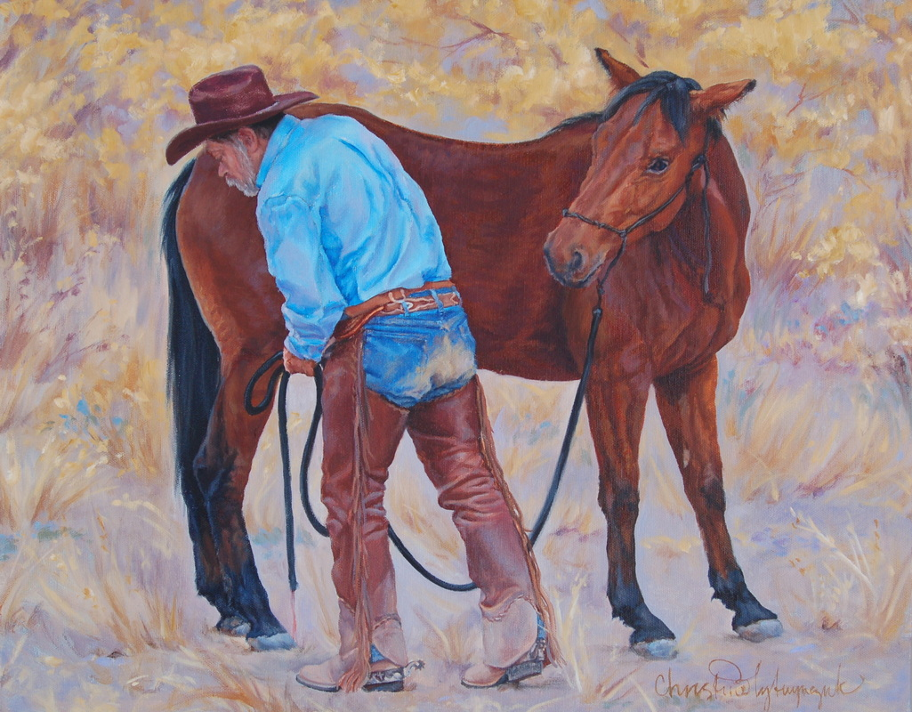 cowboy and horse painting