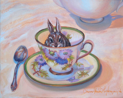 Painting of rabbit in tea cup