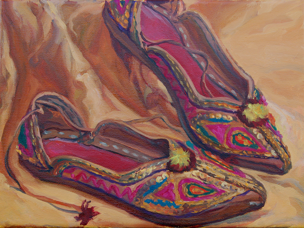 painting of east indian shoes