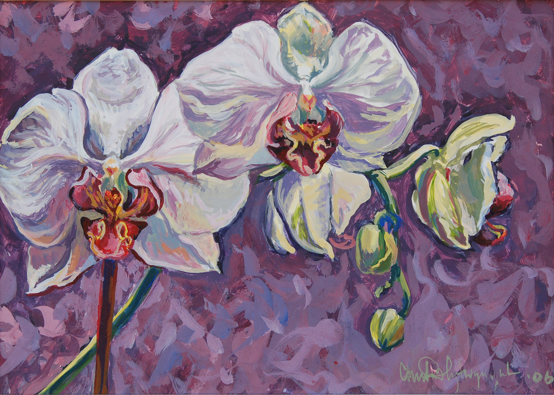 Painting of white orchids