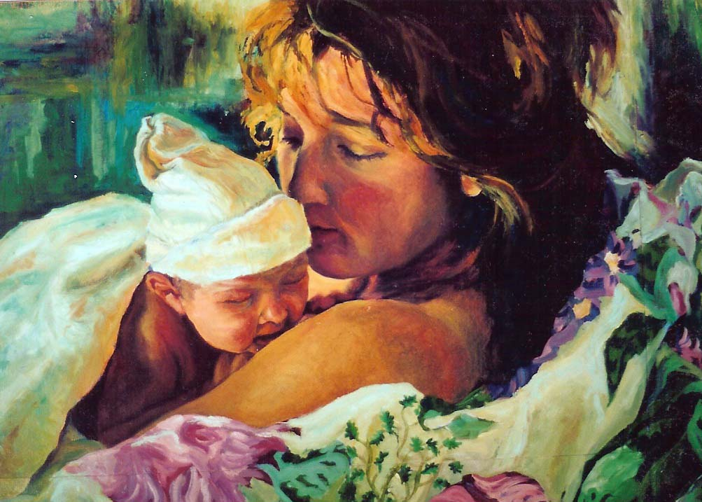 new born portrait painting