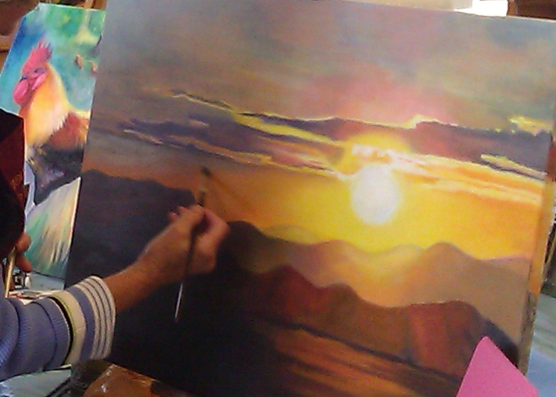 Painting class original acrylic sunset