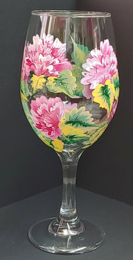 flower painted wine glasses